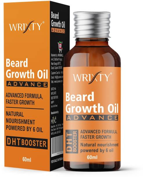 Wrixty Beard Growth Oil Advanced - 60ml - Beard Growth Oil For Redensyl and DHT Booster, Nourishment & Moisturization, No Harmful Chemicals Hair Oil (60 ml) Hair Oil