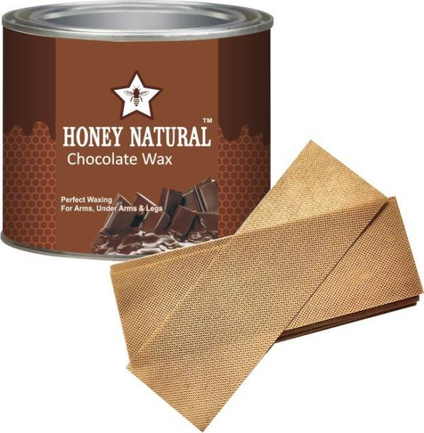 Honey Natural Wax Pro Hot Wax-One Of DARK CHOCOLATE wax 600gm with strips Wax