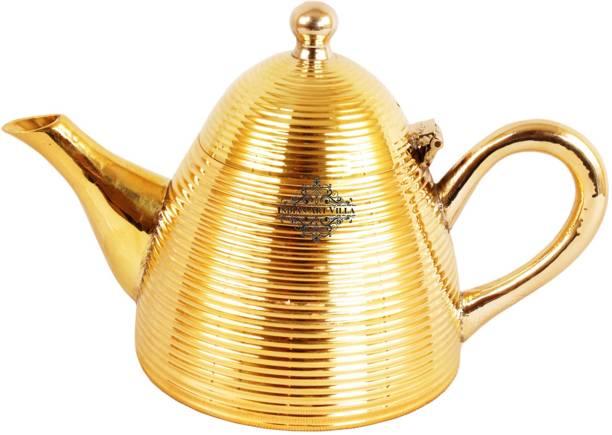 IndianArtVilla 1 L Kettle Brass Cone Lining Tea Pot Kettle 1000 ML , Tableware, Home Hotel Restaurant Jug