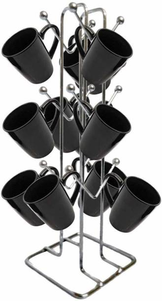 Joyat Modular Kitchens Stainless Steel V Shape Cup Stand Pieces Medium (Color: Silver,12 Cups Stand) Containers Kitchen Rack