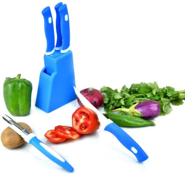 JEN 5 Pcs Knife Set With Blue Stand Plastic, Stainless Steel Knife Set