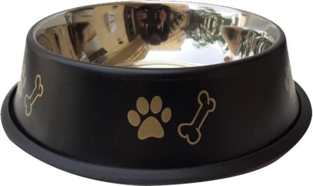 CIBO CIBO Super Anti Skid Pantone Design Dog Bowl (X-Large, Black) Round Steel Pet Bowl