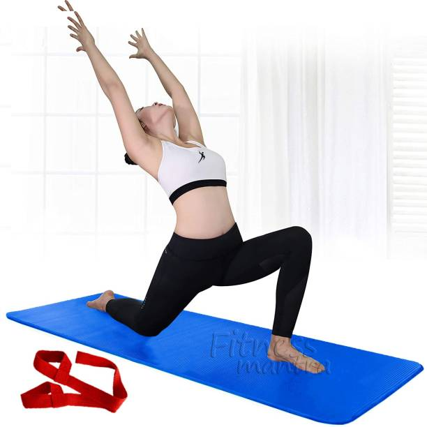 Fitness Mantra Yoga Mat for Men with Yoga Strap Blue 6 mm Yoga Mat