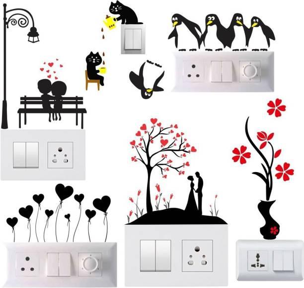 Pixel Print Small Wall Sticker, Wall Art, Fridge Sticker, Switch Stickers, Wall Stiker Combo Set of 6