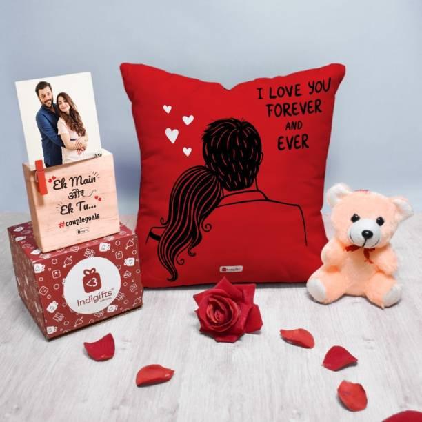 Indigifts Cushion, Greeting Card, Soft Toy, Photoframe Gift Set