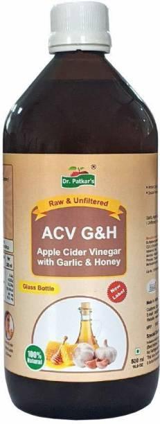 Dr. Patkar's Apple Cider Vinegar with Garlic and Honey - 500 ml Glass Bottle Weight Loss Detox body Health drink Vinegar