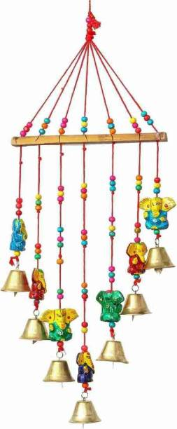 khushbu handicrafts Indian Rajasthani Lord Ganesha Wood Decorative Wall Hanging Rajasthani Art Work-Window, Home Décor Festival Diwali Decoration II Traditional Home Decoration Wall Hanging Wind Chime Bells Polyresin Windchime