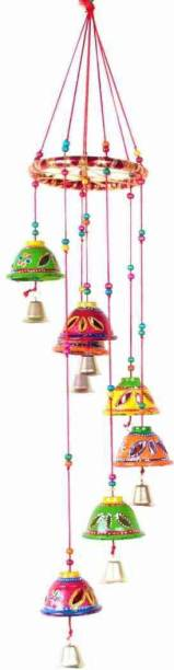 khushbu handicrafts Indian Rajasthani Handmade Traditional Art Home Decoration Wall Hanging Wind Chime Bells for Temple, Entrance, Festivals Plastic Windchime