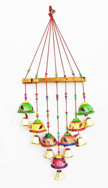 khusbhu handicrafts Gorgeously Designed Multicolor Bells Home Decoration Wall Hanging Wind Chime Bells for Temple, Entrance, Festivals II Decorative Showpiece/Wall Hanging/Home Furnishing/Diwali Gift/Corporate Gift Plastic Windchime