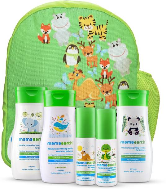 MamaEarth Complete Baby Care Kit with Baby Lotion, Shampoo, Body Wash, Mosquito Repellent & Sunscreen in an amazing water proof baby bag