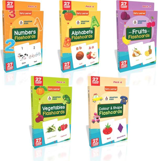 spartan kids My First Preschool Numbers Flash cards, Alphabets Flash cards, Fruits Flash cards, vegetables Flash cards, Color and Shape Flash cards (Combo Pack) Easy & Fun way of Learning-3yr-6yr Kids (Set of 5)