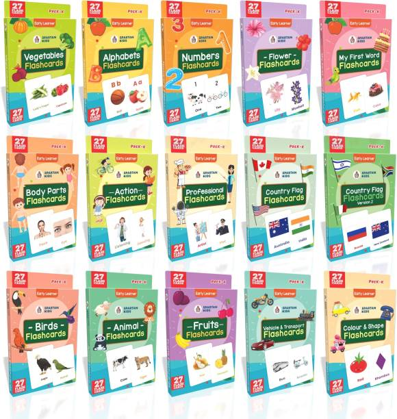 spartan kids My First Preschool Regular Flashcards (Combo Pack) Easy & Fun way of Learning-3yr-6yr Kids (Set of 15)