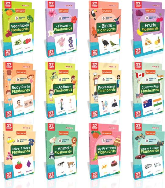 spartan kids Regular Flashcards (Combo Pack) Easy & Fun way of Learning-3yr-6yr Kids (Pack 12)