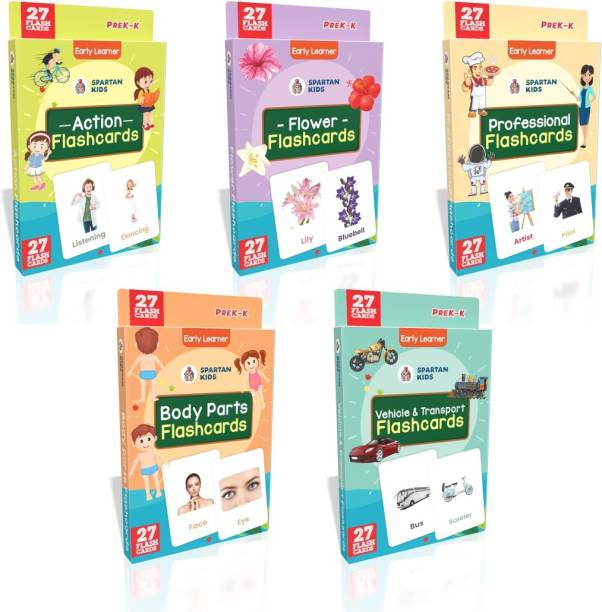 spartan kids My First Preschool Action Flash cards, Flower Flash cards, Professional Flash cards, Body Parts Flash cards, Vehicle and Transport Flash cards (Combo Pack) Easy & Fun way of Learning-3yr-6yr Kids (Set of 5)