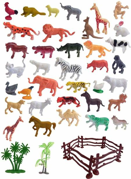 LilPlays Mini World Animal Set (40 Pcs Set) with Box, Wildlife Model Children Puzzle Early Education Gift Mini Jungle Animal Toy Set Realistic Animal Figures , Animal Toy Set Play for Kids.