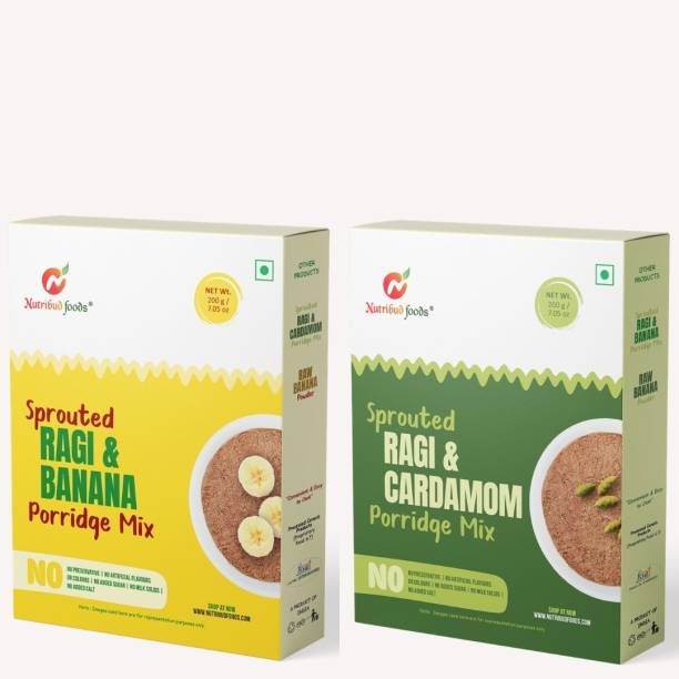 Nutribud Foods Sprouted Ragi Porridge Combo -- Ragi Banana Porridge (pack of 1) & Ragi Cardamom Porridge (pack of 1) -- No preservatives/additives, No added sugar, No added milk solids, Nachni Satva, Baby Food Cereal