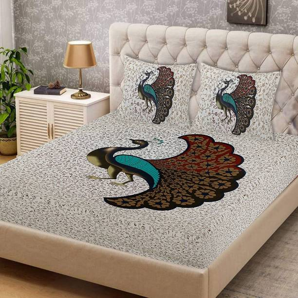 EarlyMart 144 TC Cotton Double Jaipuri Prints Bedsheet