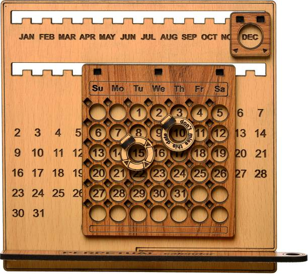 MD Proelectra Wooden 3D Perpetual Desk Calendar with Pen Stand, Don't Miss This Date Marker and Another Blank Marker for Office, Home and Gift - Adustable Months, Dates and Days - Made in India perpetual Table Calendar