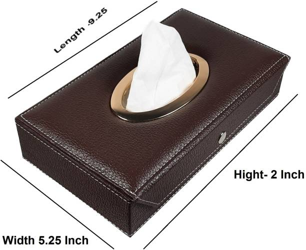 TEGWIN 0008 Brown Tissue Box Leatherette Choclate Vehicle Tissue Dispenser