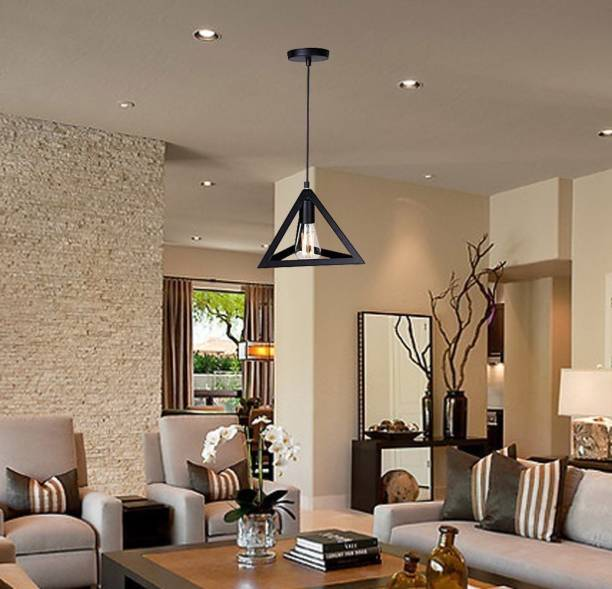 Groeien AC110V E26/E27 Single Head Vintage Black Metal Triangle Shape Hanging Light Pendant Ceiling Lights (ST64 Filament Bulb Included) Pendants Ceiling Lamp