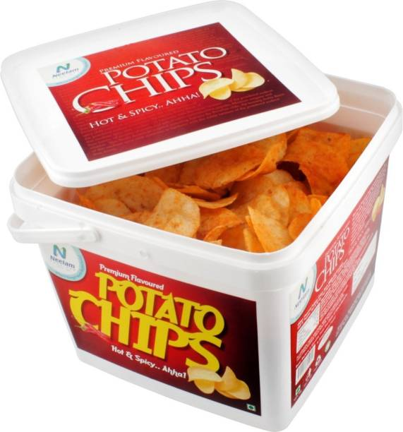 Neelam Foodland Box Pack Premium Flavoured Hot & Spicy Potato Chips, 200g Chips