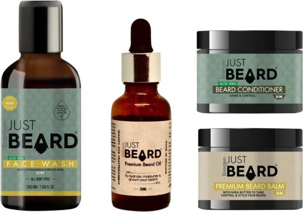 Enorgen JUSTBEARD 4-in-1 Complete Beard Care Kit for Cleansing, Growth, Conditioning & Styling | Beard & Face Care Kit Including Natural Face Wash+ Beard Oil + Beard Conditioner +Beard Balm | Made in India