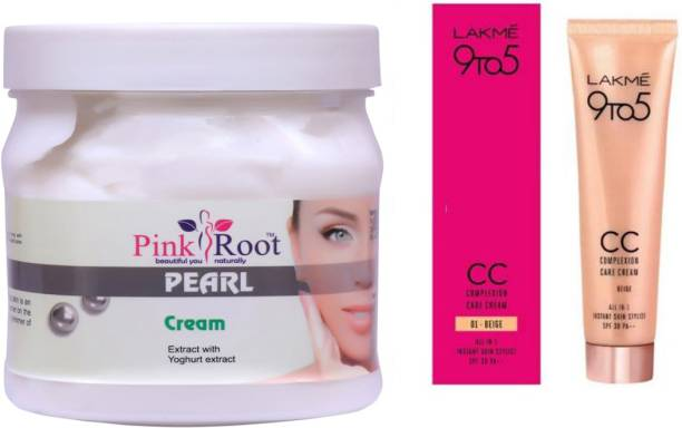 PINKROOT Pearl Cream 500gm with Lakme 9TO5 CC Complexion Care Cream