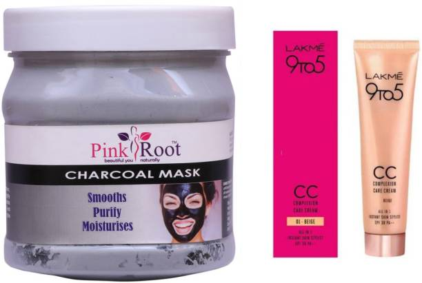 PINKROOT Charcoal Mask 500gm with Lakme 9TO5 CC Complexion Care Cream