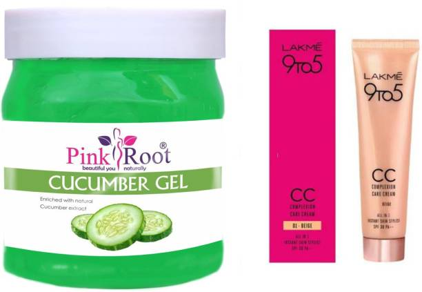 PINKROOT Cucumber Gel 500gm with Lakme 9TO5 CC Complexion Care Cream