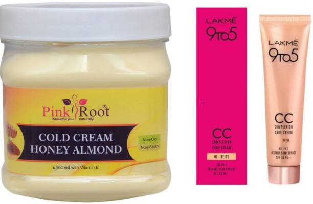 PINKROOT Cold Cream Honey Almond 500gm with Lakme 9TO5 CC Complexion Care Cream