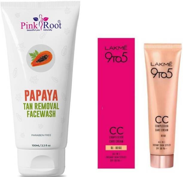 PINKROOT Papaya Tan Removal Facewash 100ML with Lakme 9TO5 CC Complexion Care Cream