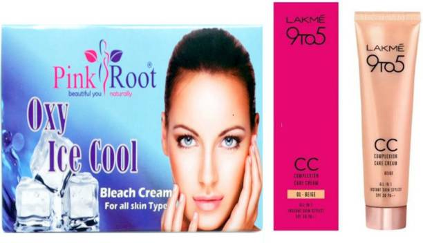 PINKROOT Oxy Bleach 250GM with Lakme 9TO5 CC Complexion Care Cream