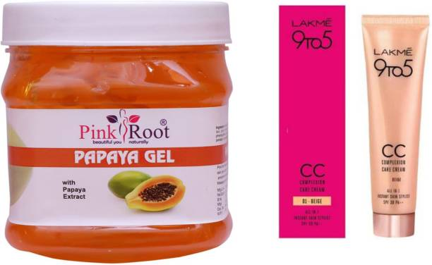 PINKROOT Papaya Gel 500gm with Lakme 9TO5 CC Complexion Care Cream