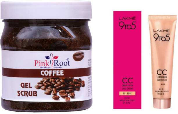 PINKROOT Coffee Gel Scrub 500gm with Lakme 9TO5 CC Complexion Care Cream