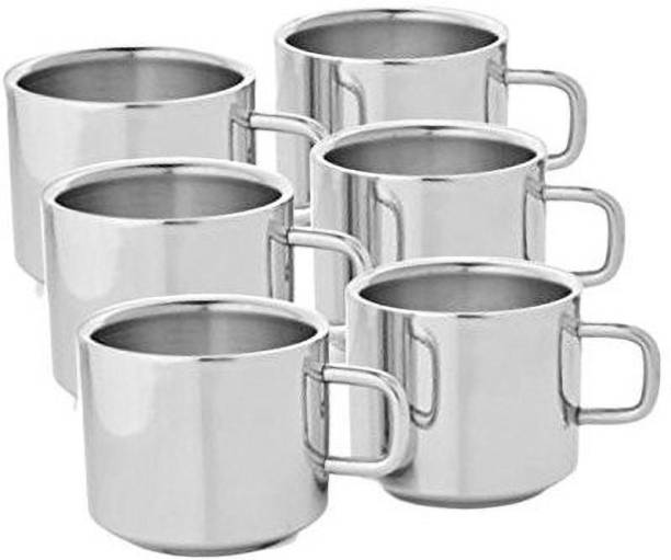 aashita shoppe Pack of 6 Stainless Steel tea and coffee mug ( pack of 6) silver , double wall, rich finishing .