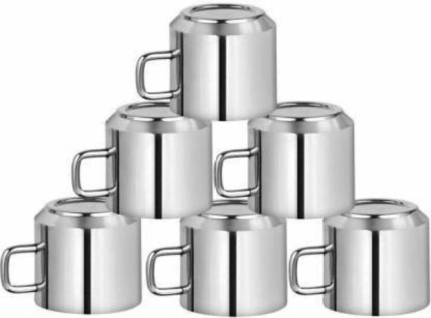 aashita shoppe Pack of 6 Stainless Steel Pack of 6 Stainless Steel Double Wall Stainless Steel Tea and Coffee Cups(100ml)