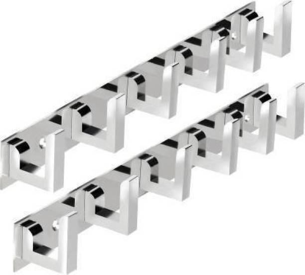 StorEasy Pack Of 2-Classic Glossy 6 Pin Cloth Hanger Bathroom Wall Door Hooks For Hanging keys,Clothes Holder Door Hanger