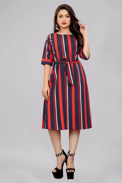 tanvi creation Women A-line Red, Blue Dress