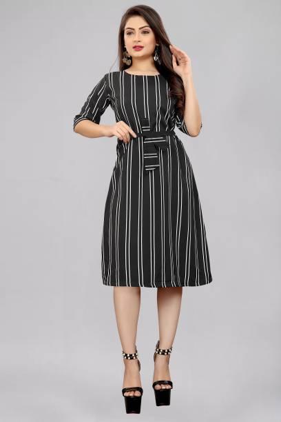Modli 20 Fashion Women A-line Black Dress