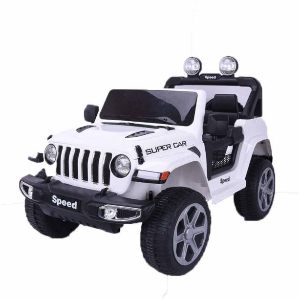 Miss & Chief Machine Battery Ride on Jeep for Kids, Electric Rechargeable car to Drive for Children/Boys/Girls with Music, Lights and Bluetooth Remote Control, White Jeep Battery Operated Ride On