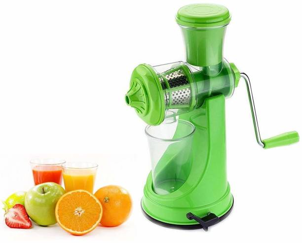 Feminoor Plastic Hand Juicer Fruit and Vegetable Juicer with Steel Handle and Waste Collector with Vaccum Locking System Hand Juicer, Fruit Juicer for All Fruits, Juice Maker Machine, Juicer Hand Machine Green