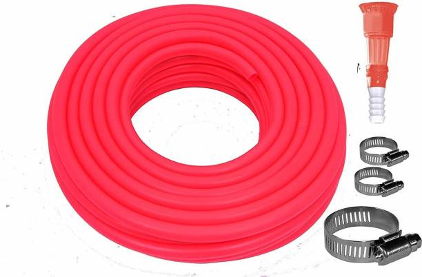MASHKI 0.5 Inch 10 Meter ( 32.5 Feet ) Flexible Double Layered Garden Water Hose Pipe With Tap Connector And Clamps For Gardening , Car Washing , Bike Washing Etc ,Water Hose Pipe , Double Layered Hose Pipe , Pipe For Garden Hose Pipe