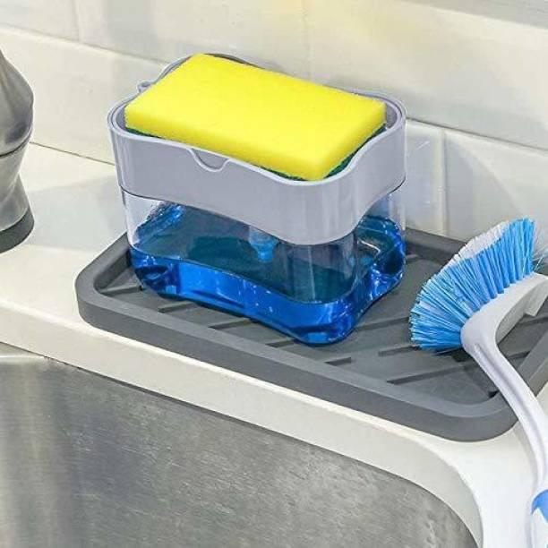 Honbon Soap Pump Dispenser and Sponge Holder with 1 Cleaning Sponges for Kitchen Sink & Dish Washing | 2 in 1 Soap Pump Plastic Dispenser for Dishwasher Liquid Holder Multi color (Pack of 1) Dishwash Bar