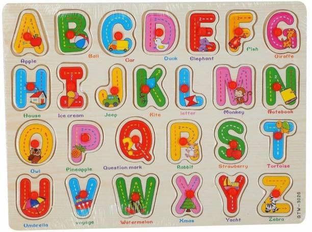 V R Enterprises Wooden capital alphabet puzzle (multi colour)- Multi color