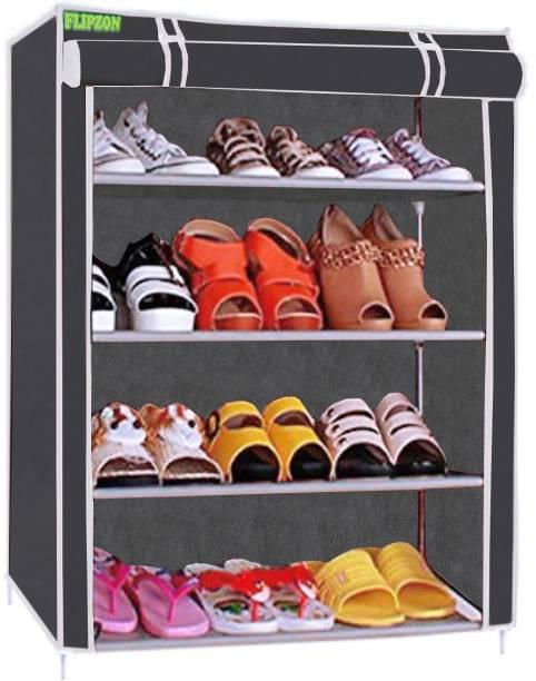 FLIPZON Iron and Fabric Multi-Purpose Shoe Rack, 4 Shelf Metal Shoe Stand