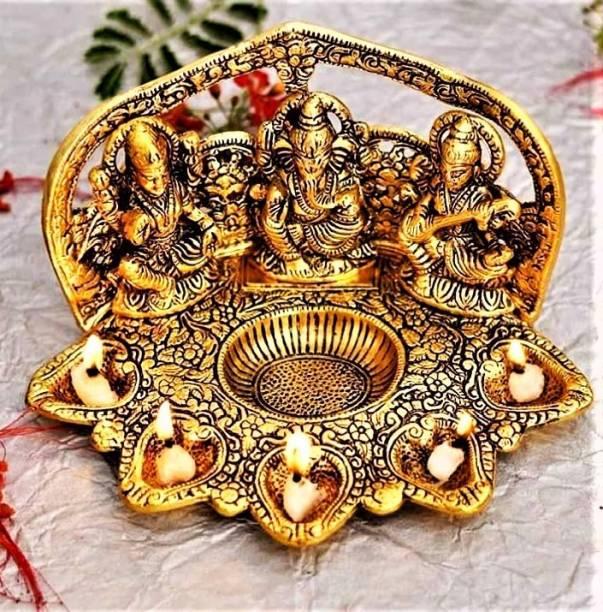 VIRSAA HANDCRAFTED METAL LAXMI GANESHA SARASWATI WITH DIYA Figurines Showpiece for Home Decoration, Table Decor, Office Decor Decorative Showpiece Decorative Showpiece  -  14 cm