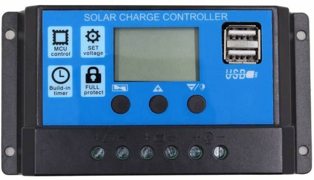 sunkart Solar Charger Controller 20A, Intelligent Battery Regulator for Solar Panel LCD Display with Dual USB Port 12V/24V PWM Solar Charge Controller