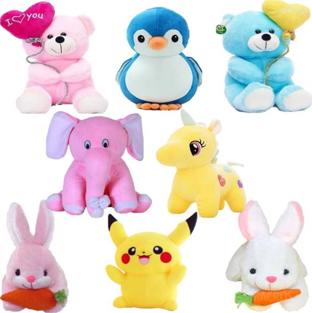 NKL Stuffed Combo of 8, Love tag Balloon Teddy, Penguin, Baby Elephant, Unicorn, Rabbi with Carrot, Pikachu, complete combo for Kids, Gift & Decoration  - 30 cm
