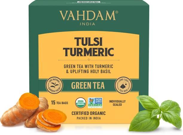 Vahdam Tulsi Turmeric Green Tea Box