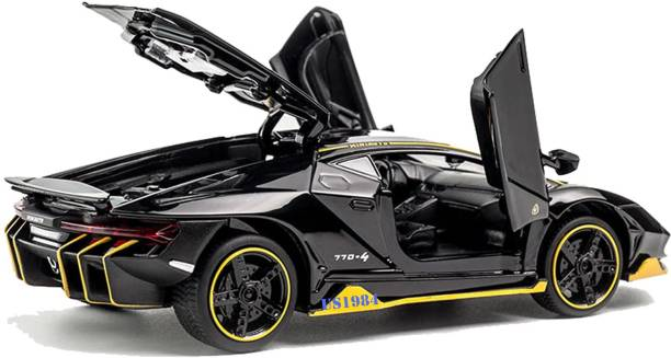 US1984 1:32 Diecast Metal Body Lamborghini Racing Pull Back Car Toy with Openable Doors, Light and Sounds Effects